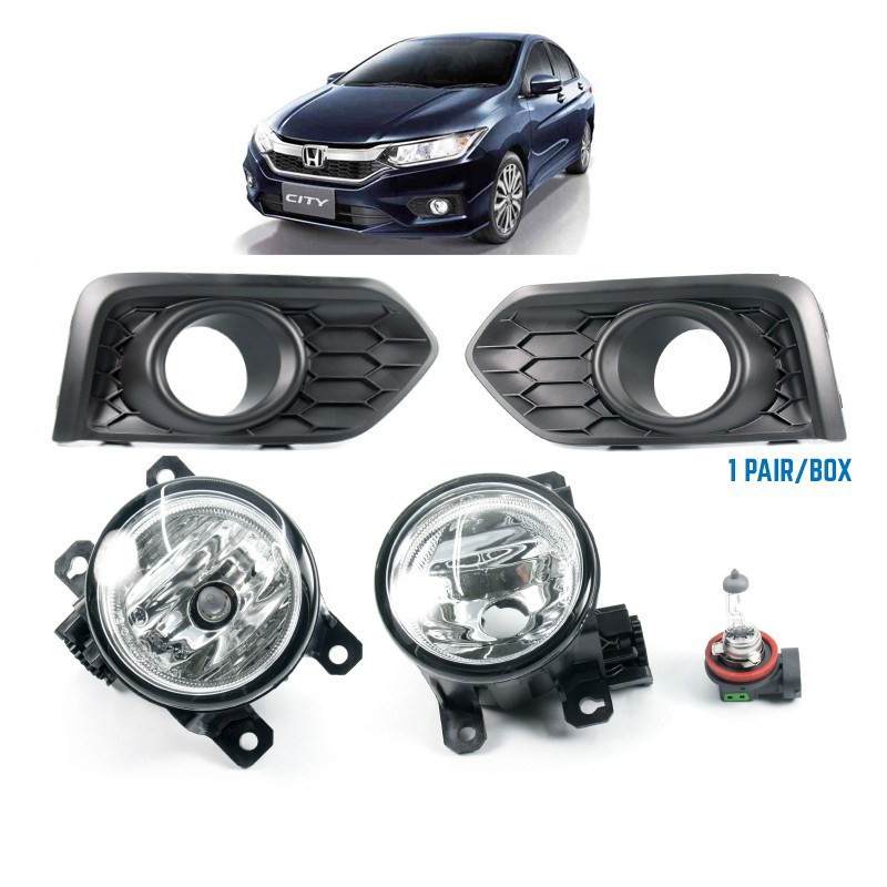 Clear Fog Light with Cover Wiring Switch Kit For Honda City GM6 2014-2016