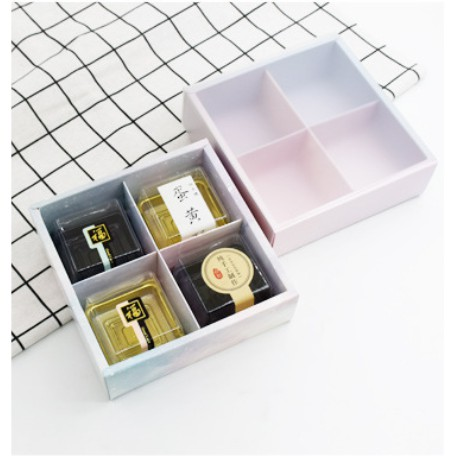4 Holes Mooncake Multipurpose Square Drawer Box w/ Frosted Drawer Cover (Red/Black/Brown)