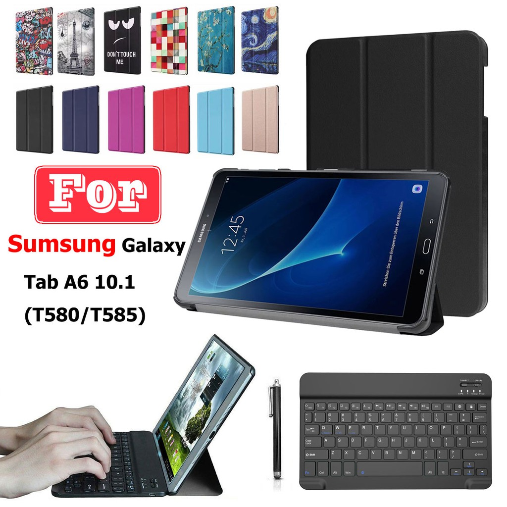 Compatible For Samsung Galaxy Tab A 10 1 T580/T585 PU Leather Tablet Case  Cover + Bluetooth Keyboard Combination