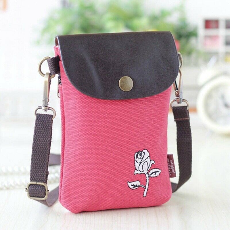 326e9c2c9a60 Embroidered bag Messenger bag female foreskin cover canvas hanging phone bag