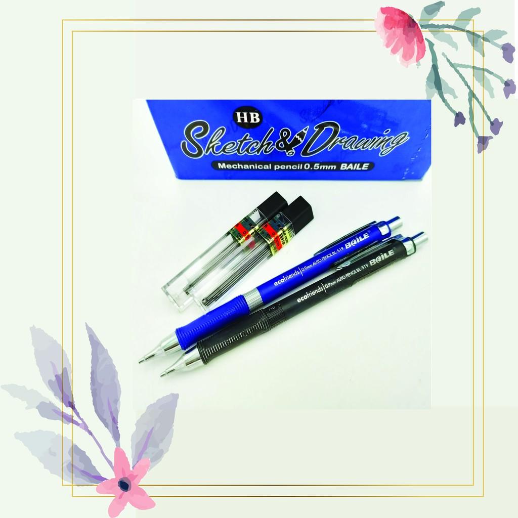 [READY STOCK] Baile 0.9mm HB Mechanical Penci x 2pcs / FREE 2 Pencil Lead