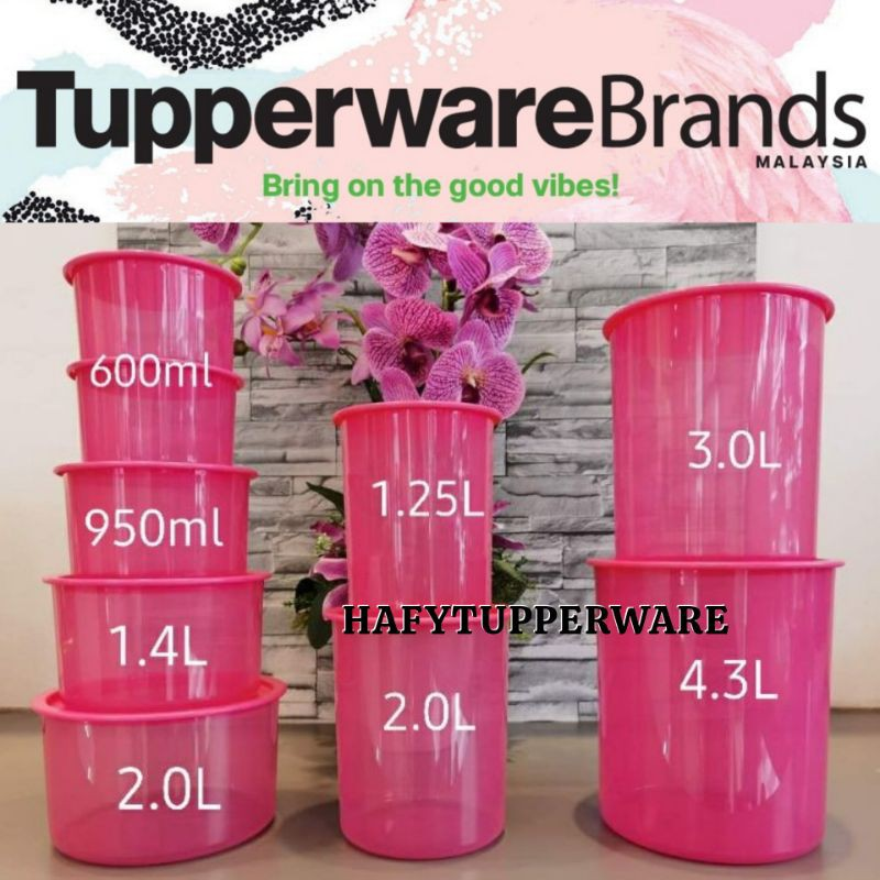 🔥READY STOCK🔥One Touch Canister Tupperware (1.2L/2L/3L/4.3L) Topper Junior 600ml/Topper Small 950ml / Camellia One Touch