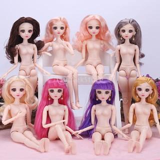 Set of 2 12th 3D Eyes BJD Movable Dolls Body Girl Kids Toy Xmas Birthday