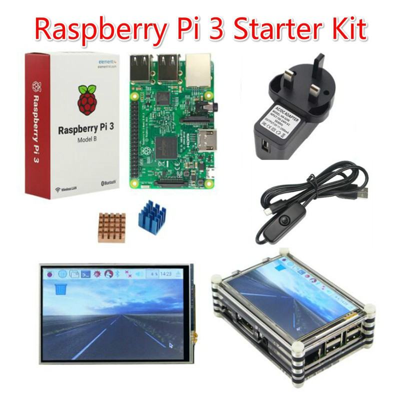 Raspberry Pi 3 with Touchscreen & Acrylic Case & Power Supply & HeatSink