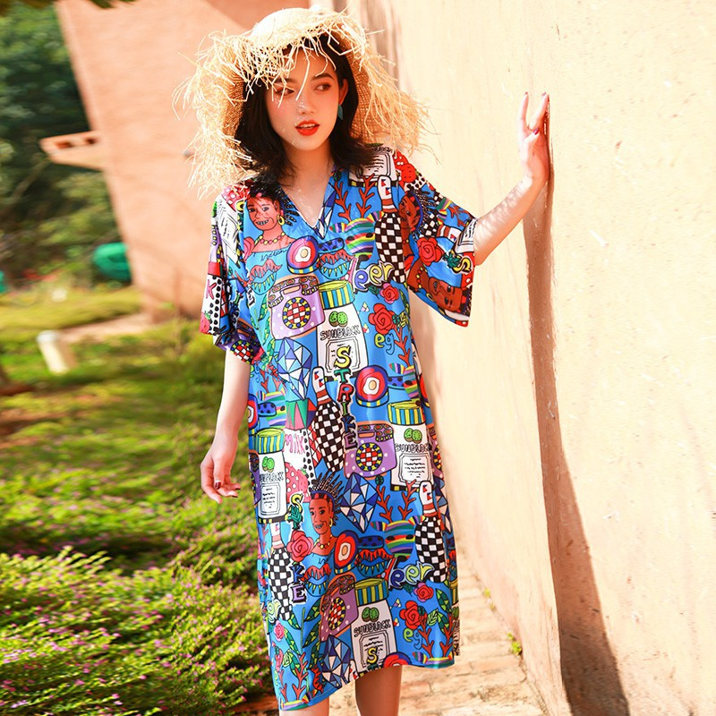 a2b29bccdba8c 2019 women new fashion Holiday Vintage Print Chiffon Dresses Women Summer  Short Sleeve Loose Bohemian Beach Dress