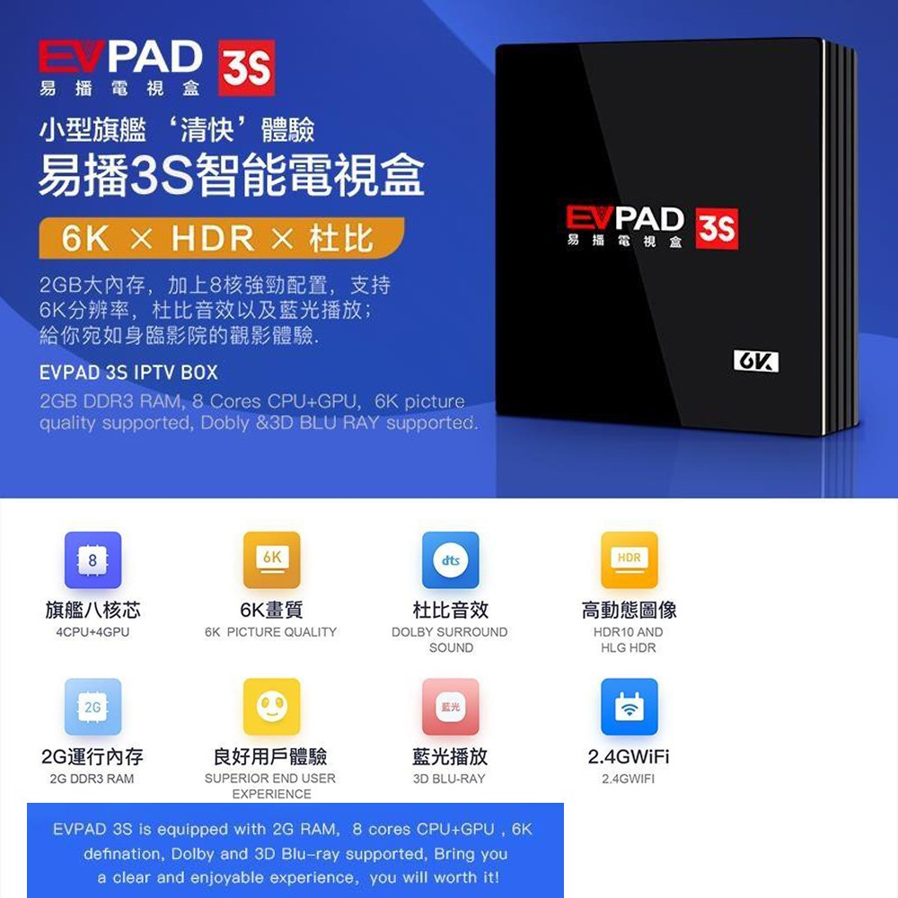 EVPAD 3S The Latest 3rd Gen 2GB RAM+8GB ROM TV Box