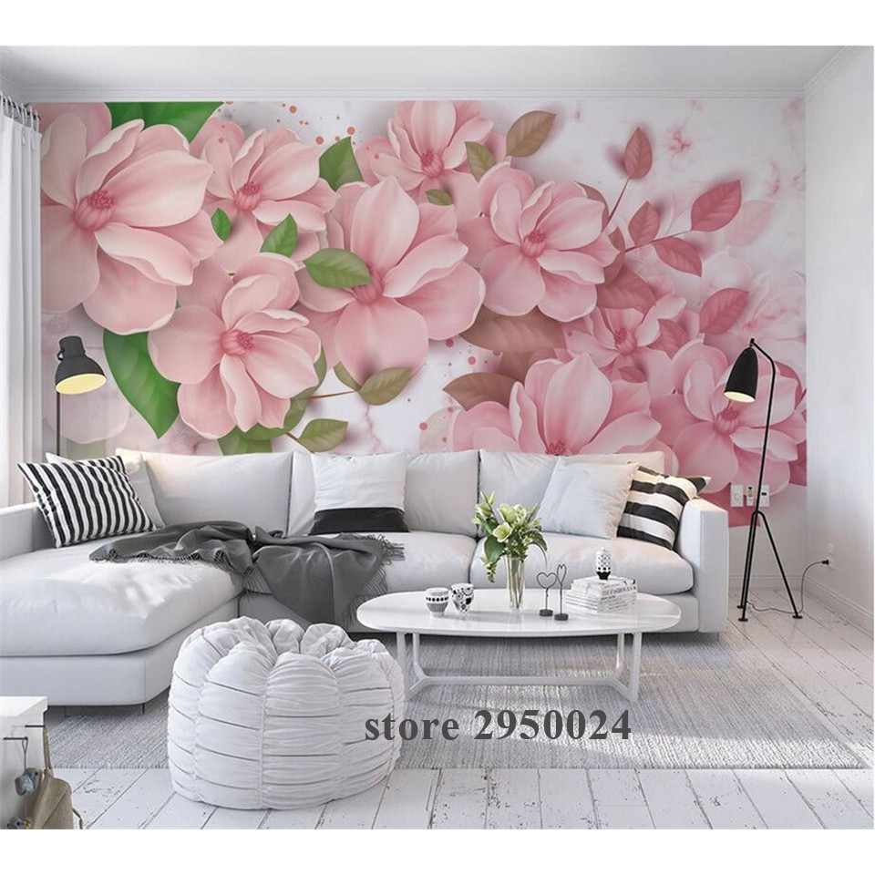 Custom 3d Wallpaper Nordic Style Marble Pattern Flower China Wallpaper Mural 3D Wall Mural Wallpaper