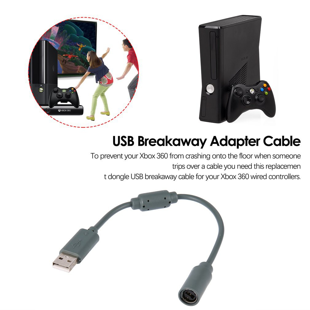 Replacement Usb Breakaway Adapter Cable For Xbox 360 Pc Wired