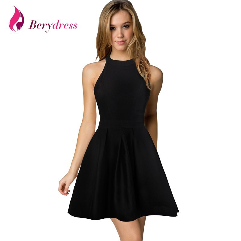 e4ed735511 Berydress Womens Cute Wedding Cocktail Sexy Nightclub Halter Neck Blackless  A-Line Short Dress Black | Shopee Malaysia