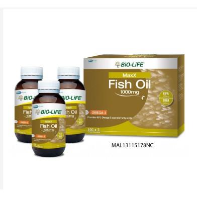 BiO-LiFE MaxX Fish Oil Made 1000mg 100\'s x 3