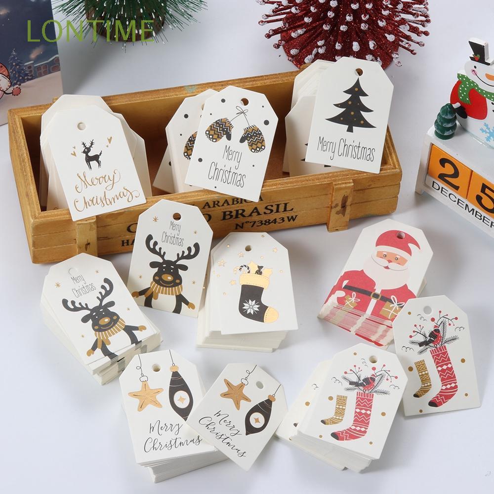 50pcs Christmas Greeting Card Kraft Paper Tag Set Santa Gift Baking Packaging