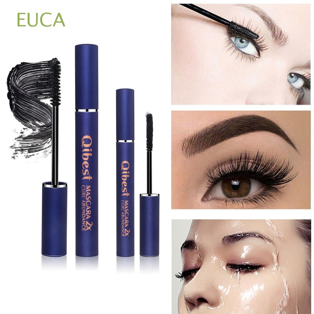 EUCA 2pcs/lot Black Thicken Longlasting Cosmetic Tool 4D Silk fiber Mascara
