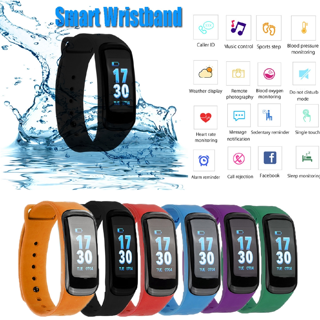 Waterproof Smart Watch Blood Pressure/Oxygen Heart Rate Sport Wristband Bracelet