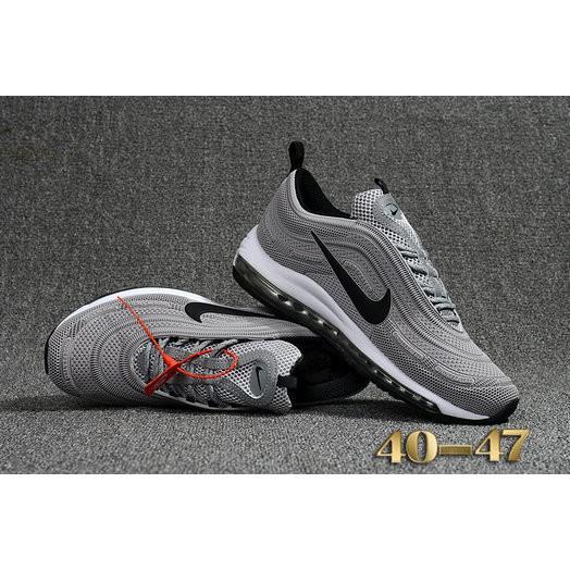 2018 AirMax x OFF White x Nike Air Max 97 Grey Black White Casual Sneaker