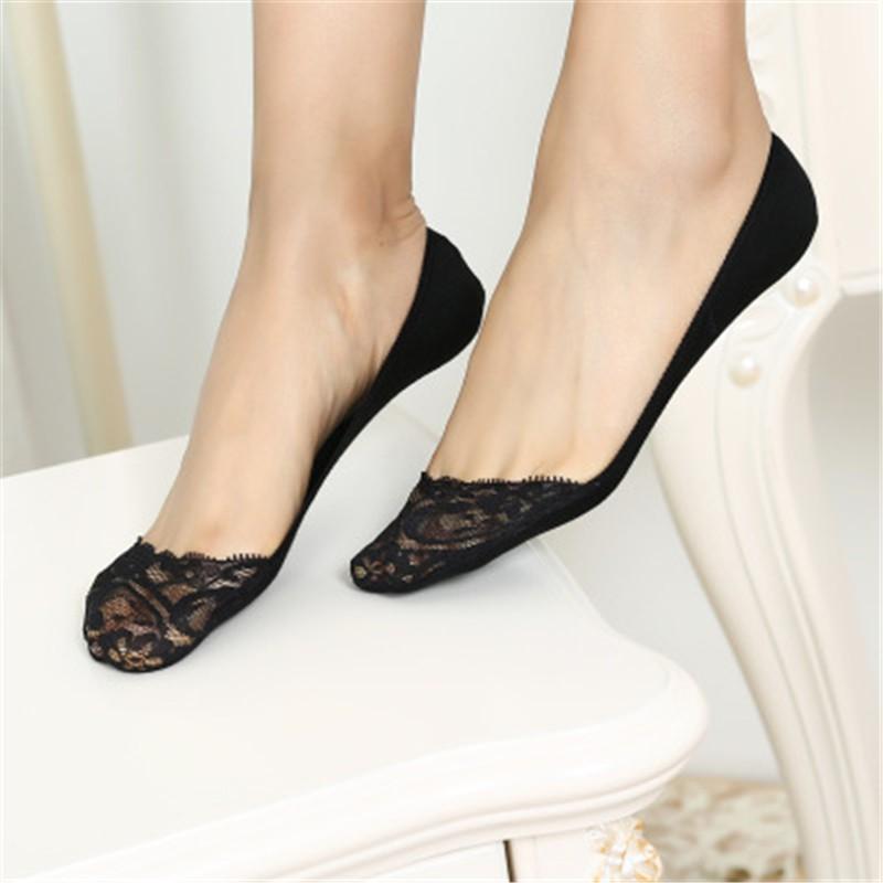 b31d3f1fb88 5Pairs Women slipper lace socks Invisible Skin Thin boat