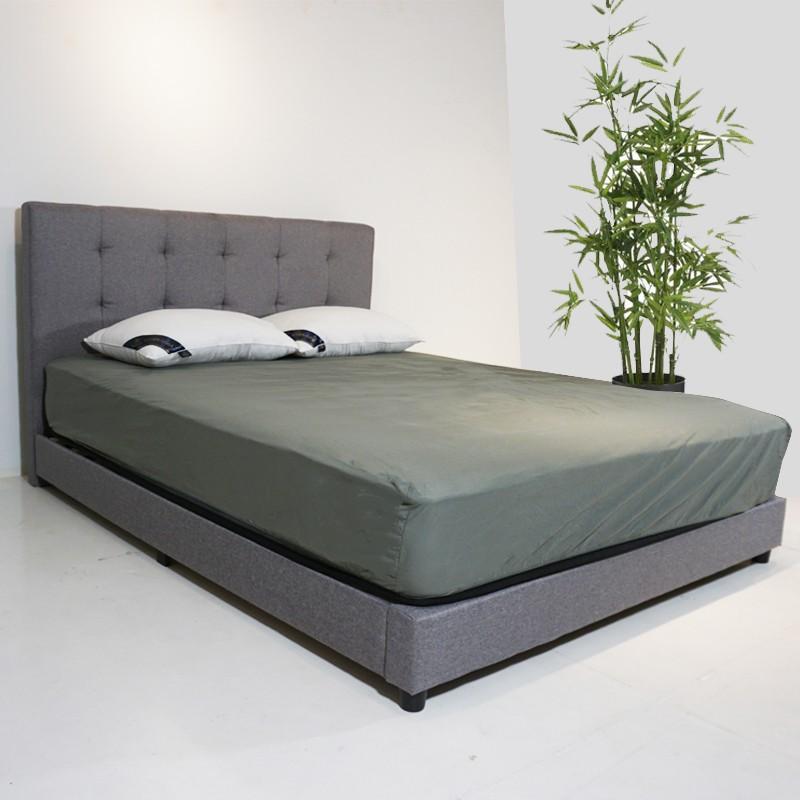 Furniture Direct Linen fabric queen size bed frame katil queen ikea murah kain side rail wooden