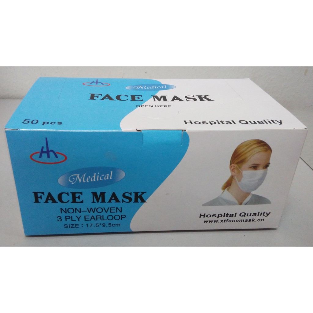 3 hospital Grade Surgical Face - Ply Mask 50's