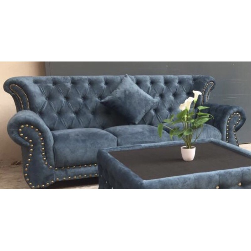"""Nottingham 3 Seater Chesterfield Sofa, Fella Wing Chairs & 25"""" x 25"""" Ottoman, Special Classic Fabric, Infab, RM 5,100"""