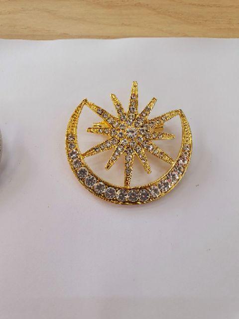🌹🌻 Kerongsang Kristal Banyak 5 cm Gold / Silver (1 pcs) 🌹🌻