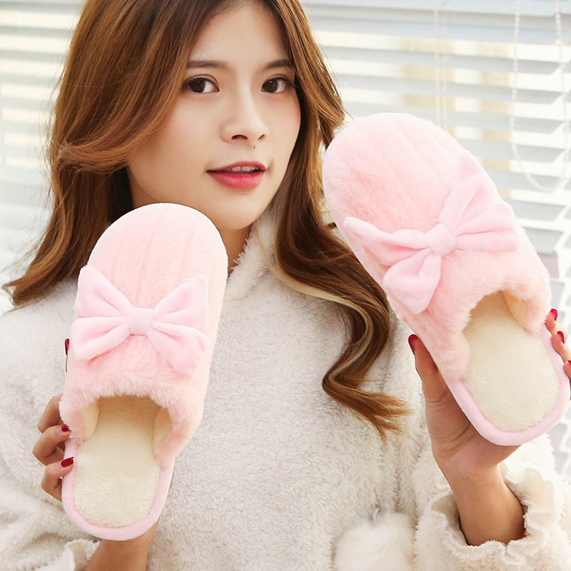 Men And Women Autumn And Winter Home Indoor Couple Non-Slip Thick-Bottomed Plush Warm Cotton Slippers.