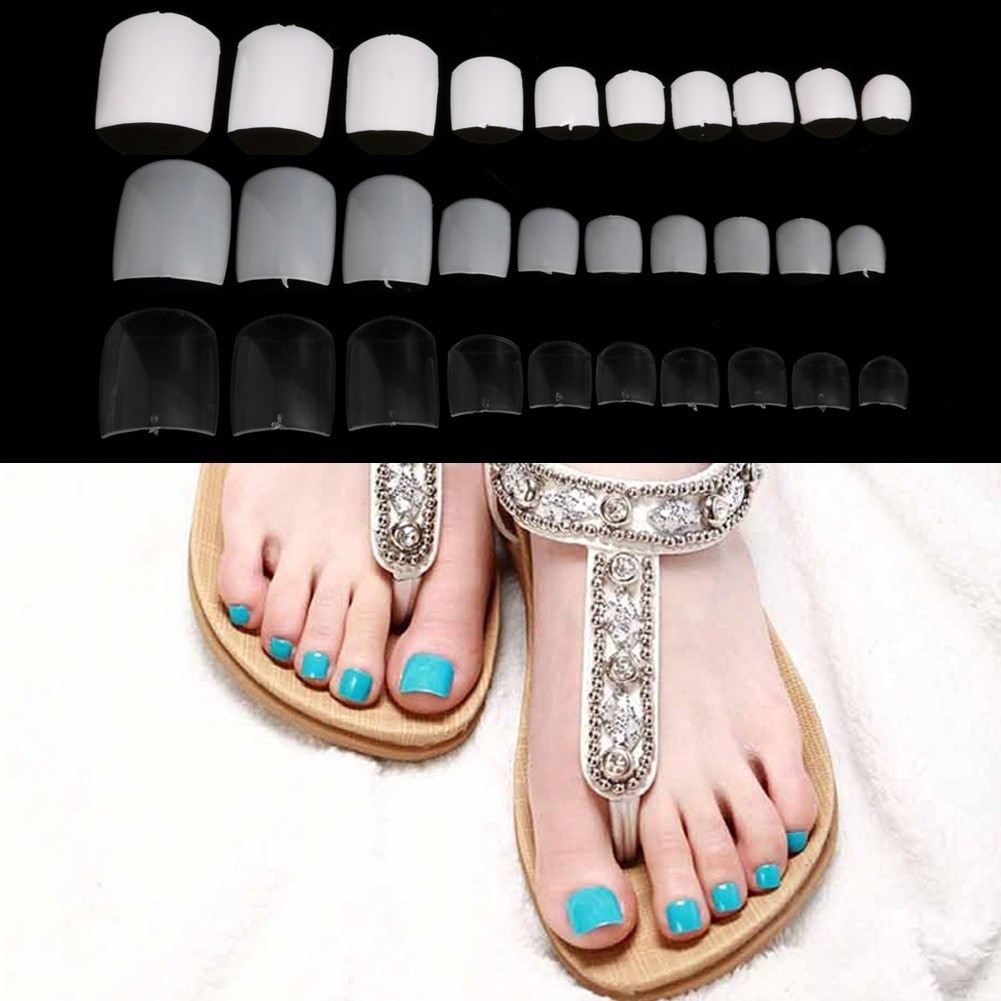 500PCs French False Fake Feet Toenail Toe Nail Art Acrylic UV Gel ...