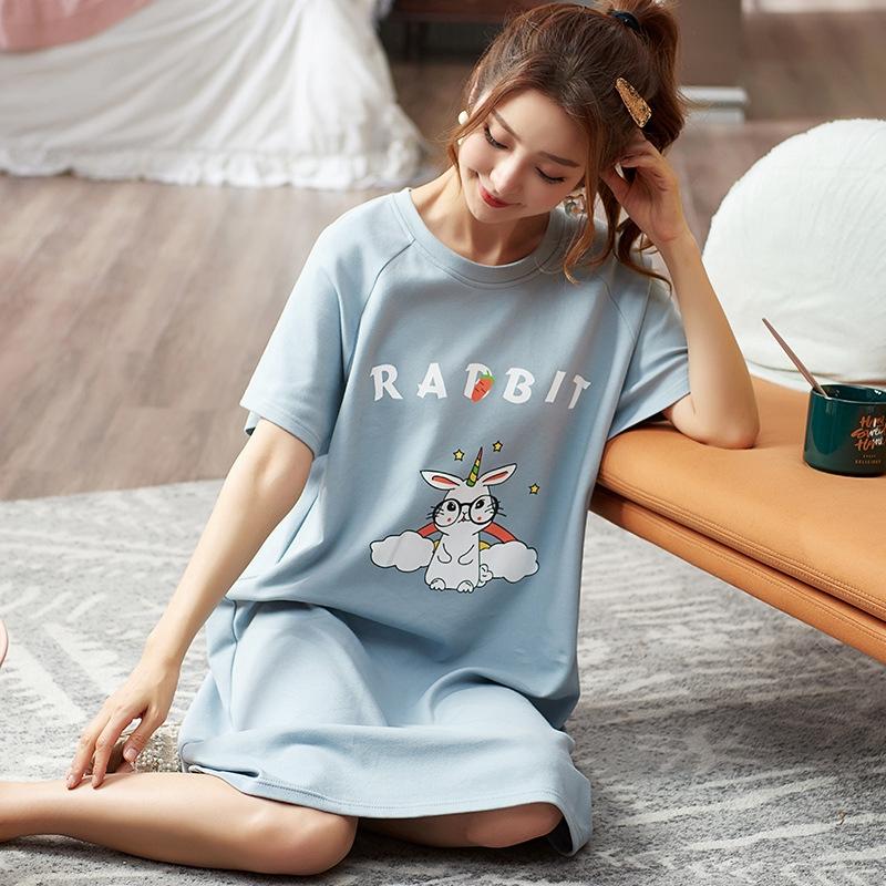 Ladies Nightwear Fun Nightie Cute Elephant Night Dress Short Sleeves Pyjamas