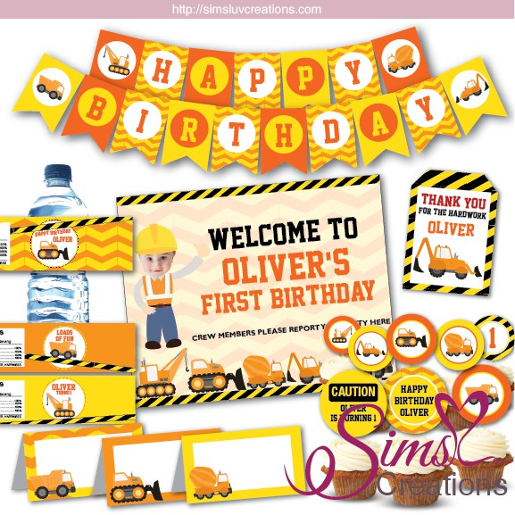 CONSTRUCTION PARTY Birthday Party Supply Set Pack Kit for 16 w// Loot Bags