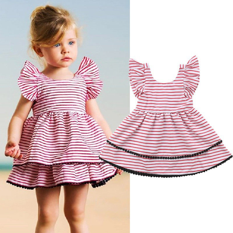 0ed2c96a8c8ce 2019 Hot Sale 2-8 Years Girls Short Sleeve Blue Stripe Summer Dress Girls  Cotton Casual Dresses Baby Kids Clothing Out