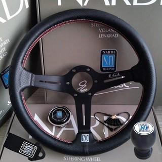 350mm NARDI TORINO Style PU Leather Black Alloy Spoke Red Stitch Sport Drift Racing Steering Wheel
