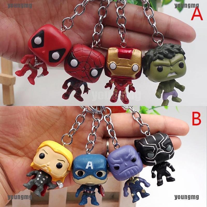 ☂4Pcs Cute The Avengers Keychain Batman SpiderMan DeadPool Keyring