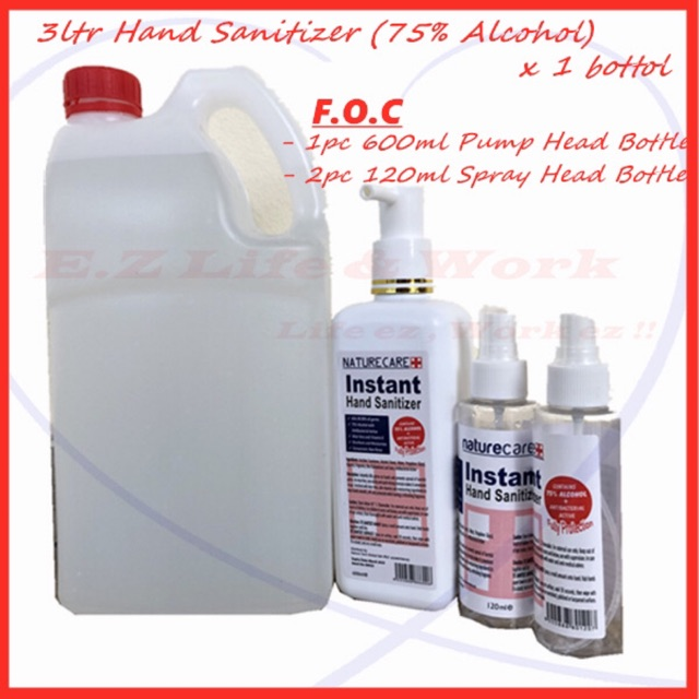 [Buy 1 Free 3] 3.0ltr Nature Care Hand Sanitizer 75% Alcohol