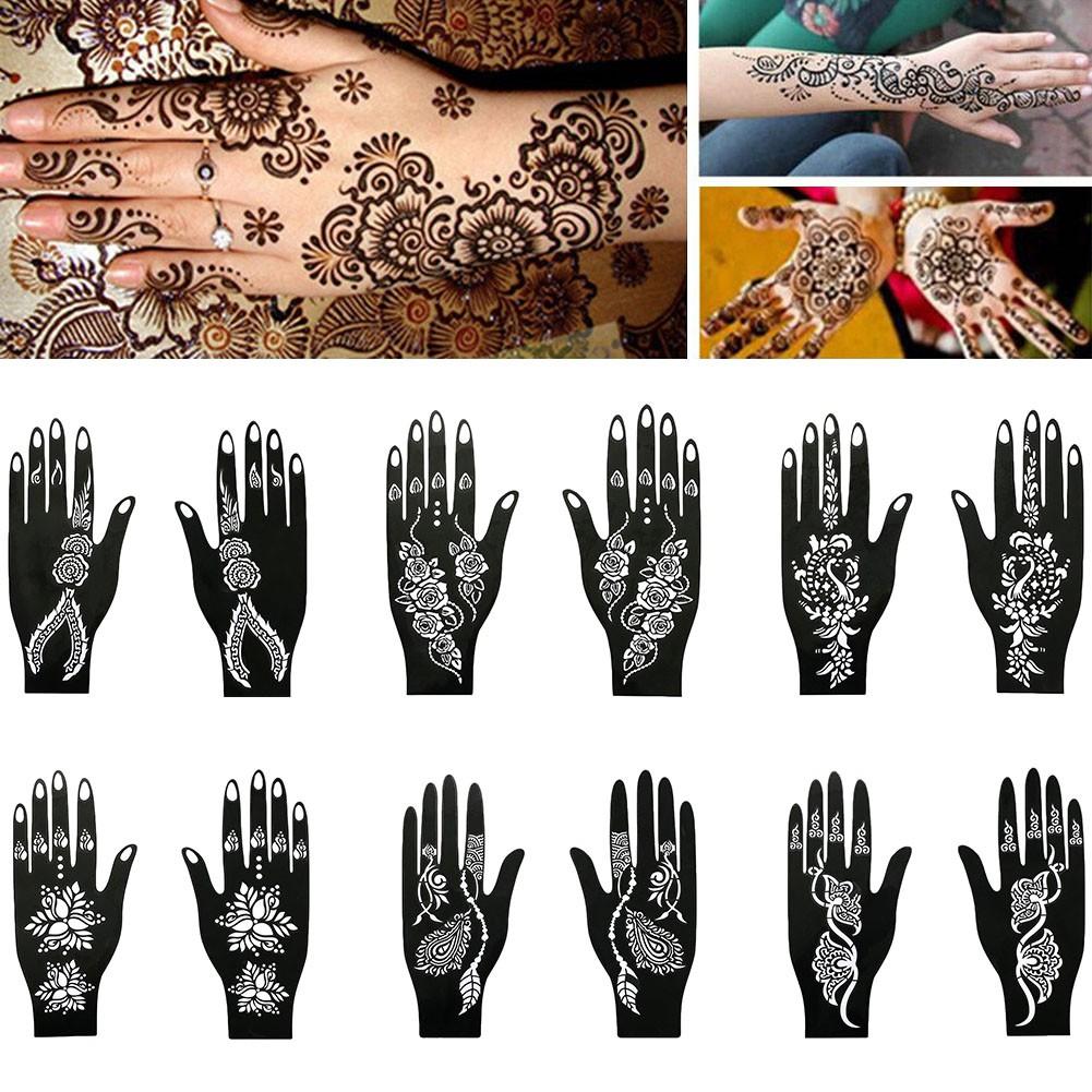 Diy Reusable Hand Stencil Body Arts Template Henna Temporary Tattoo Sticker Shopee Malaysia