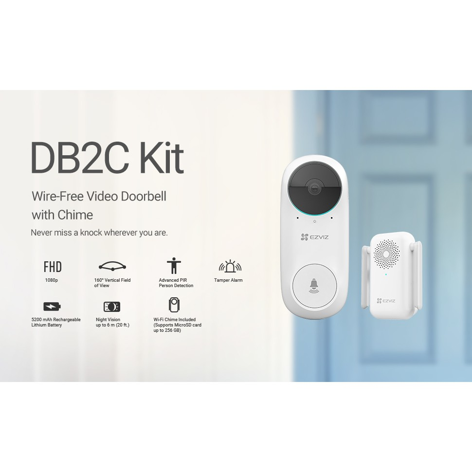 Ezviz Wireless IP Camera DB2C - Wire-Free Video Doorbell with Chime, 1080p, two-way talk, Rechargeable Lithium Battery