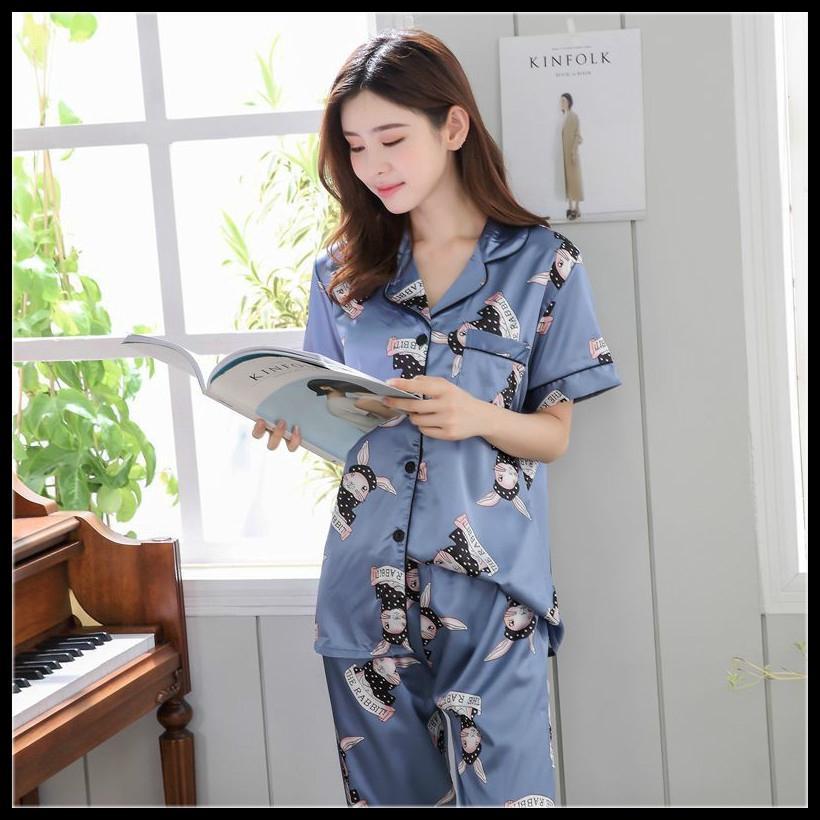 Yayu Mens Casual Silk Satin Pajamas Set Sleepwear Loungewear