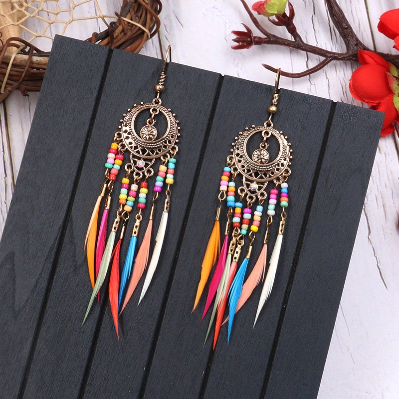 Bohemia Style Vintage Charming Feather Long Chain Tassel Beads Hook Earrings New