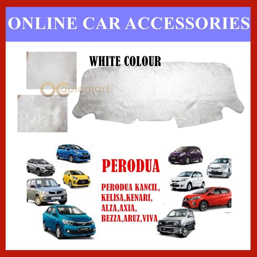 (White Colour) Customized Dashboard Cover Fur / Bulu For Perodua Myvi,Viva,Axia,Aruz,Alza,Kancil,Kenari,Kelisa,Bezza