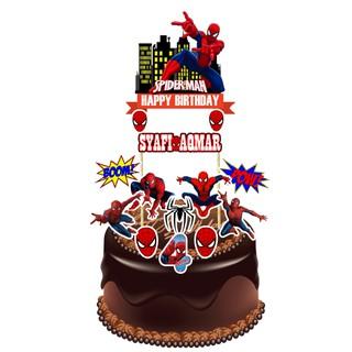 Pleasing Spiderman Cake Topper Shopee Malaysia Funny Birthday Cards Online Unhofree Goldxyz