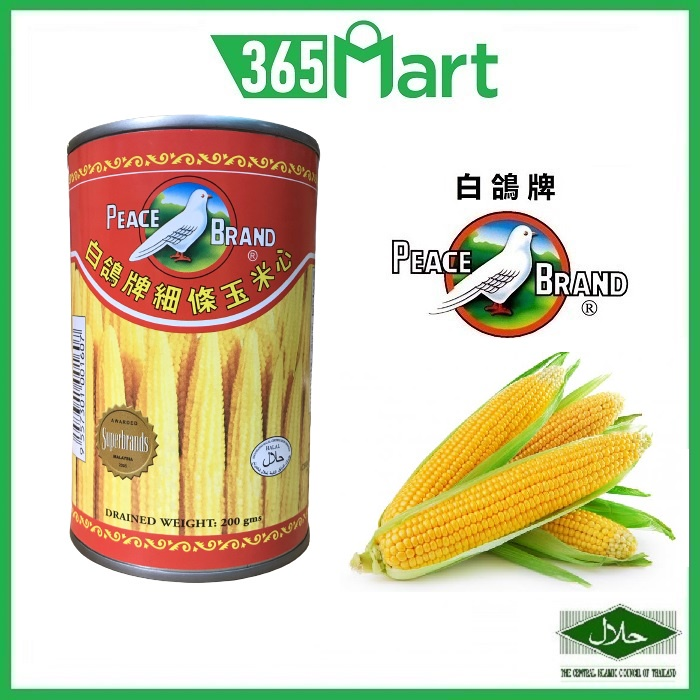 PEACE BRAND Golden Baby Corn (Whole) 425g 细条玉米心 by 365mart 365 Mart