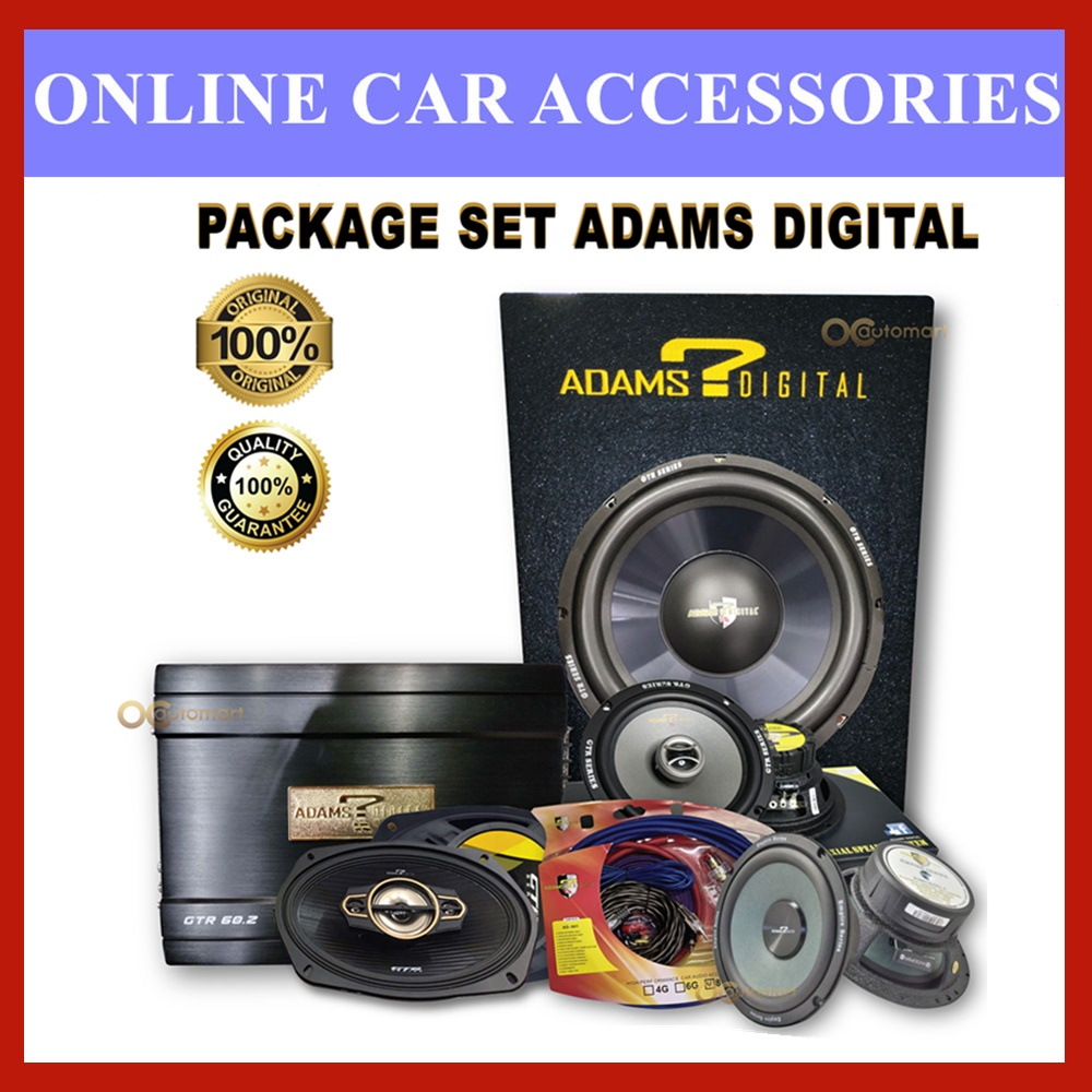 PACKAGE SET ADAMS DIGITAL 2 Channel AMP, 12 Inch woofer with box, 2 Way Speaker, Power Cable Wiring