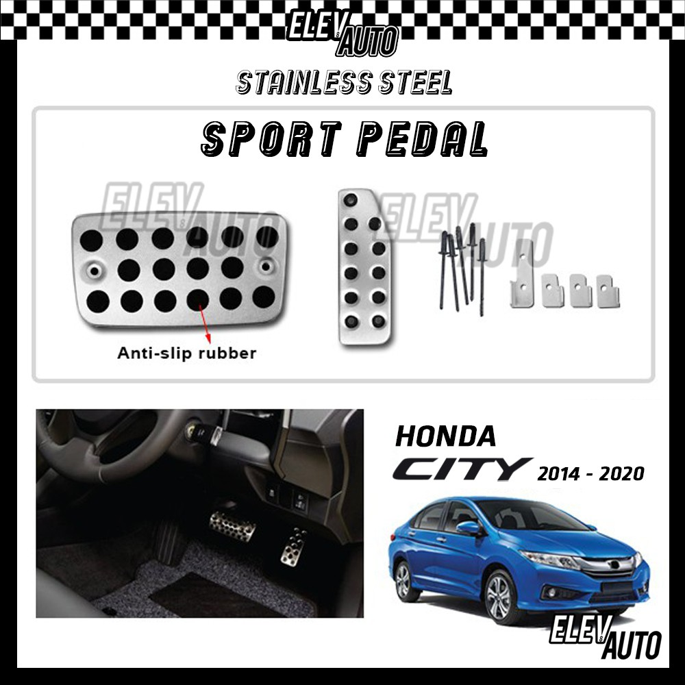 Honda City GM6 2014-2020 Stainless Steel Sport Pedal with Anti-slip Rubber