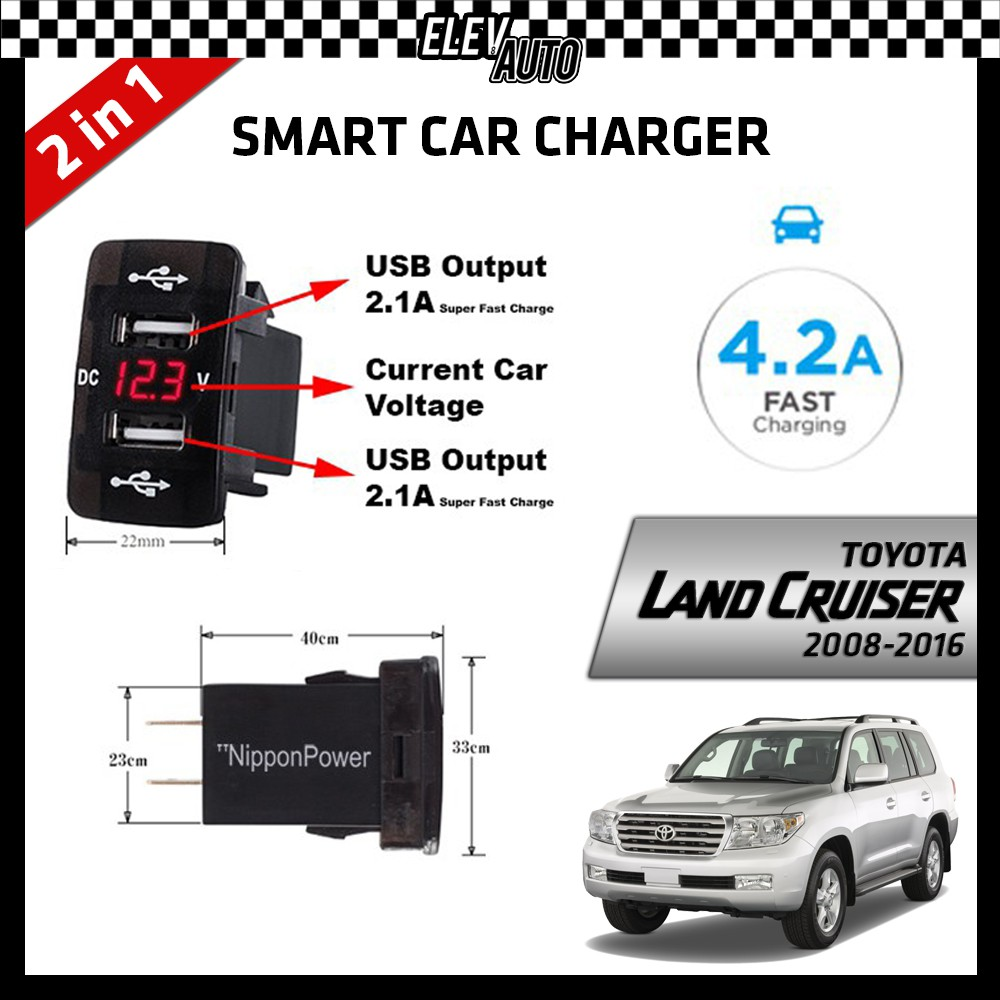 DUAL USB Built-In Smart Car Charger with Voltage Display Toyota Land Cruiser 2008-2016