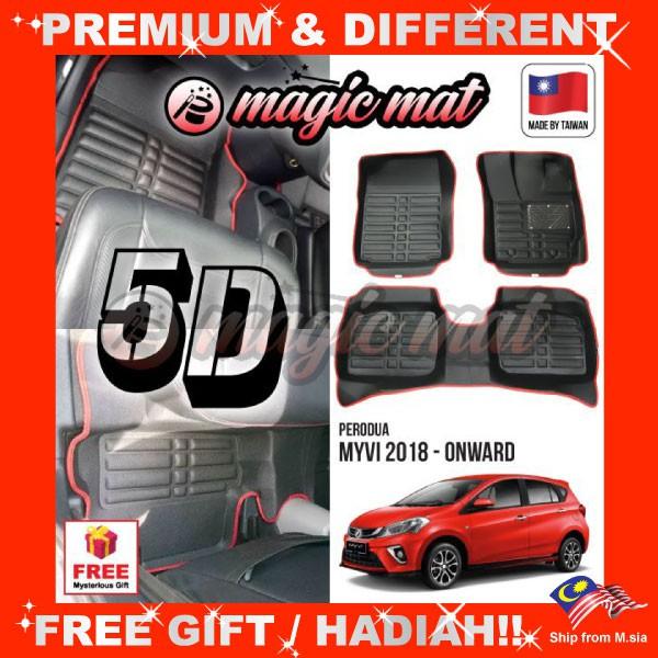 [FREE GIFT Gift] PERODUA MYVI 2018 - Onward (5 Seater) MAGIC MAT 5D OEM PU Leather Floor Mat Anti-Slip Easy Clean Carpet
