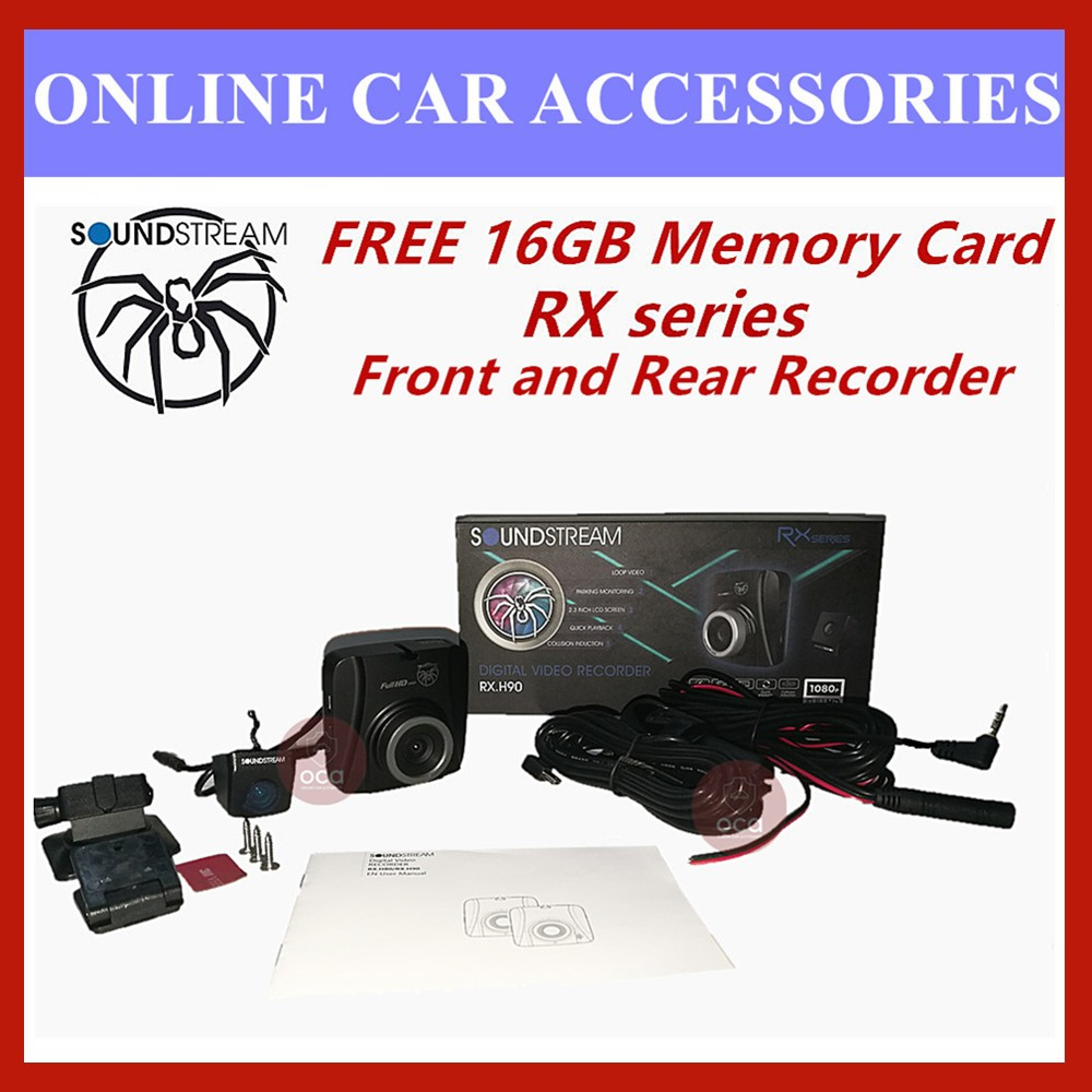 """Soundstream DVR 2.3"""" LCD Display 1080P HD Car Front and Rear Driving Recorder Camera DVR RX.H90 (FREE 16GB Memory Card)"""