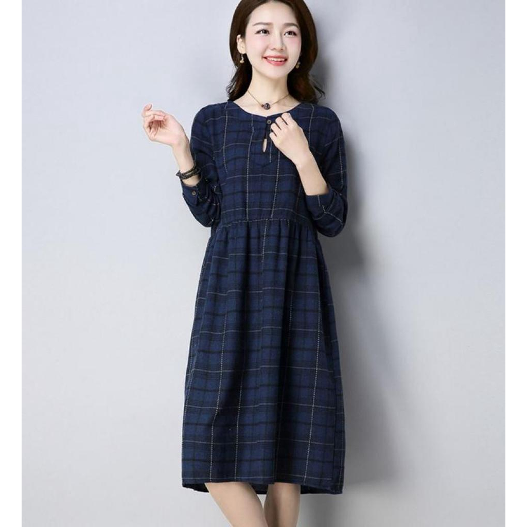 869bb1f033 ZASHION Japanese Plus Size Checkered Classic Dress