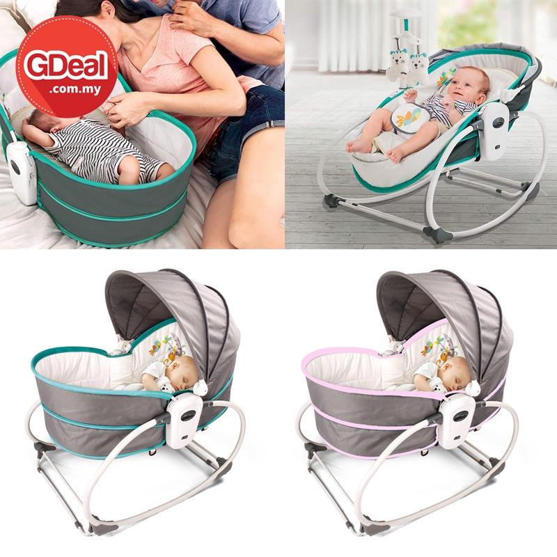 GDeal Baby 5 in 1 Cradle Music Chair Multi Function Newborn Bedside Rocker Bassinet Buaian Bayi بواين بايي