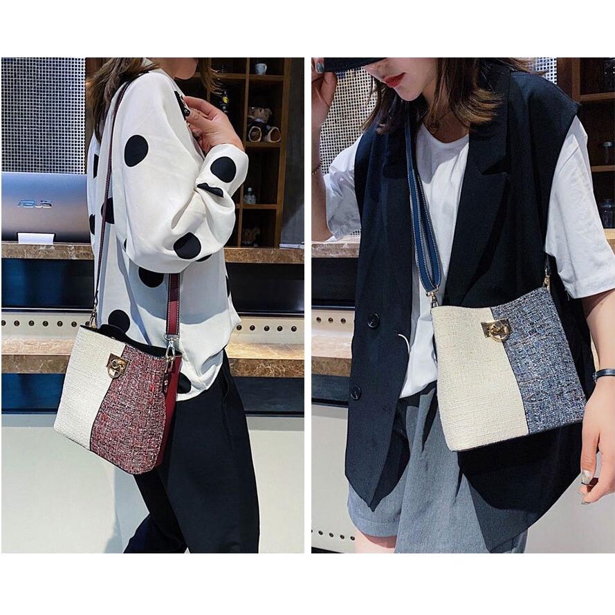 💓New💓 Shoulder Linen Bucket Handbag with Sequined and Rivet Decoration [ Biqlin 217 ]