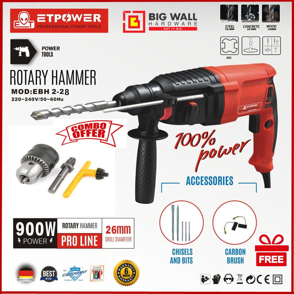 ET Power Professional Power Tools Rotary Hammer MOD:EBH 2-28 26mm 900W 3 Mode Rotary Hammer Drill with Drill Chuck Set