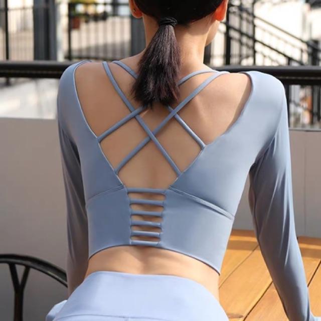 Sports Wear Fittness Long Sleeve Sexy Top 美背长袖瑜伽服带胸垫跑步运动速干t恤女紧身性感露脐套指健身衣