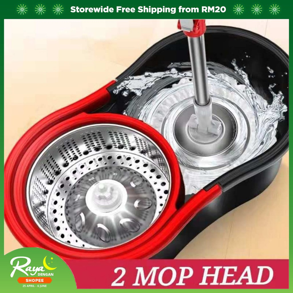 READYSTKEasy Spin Mop With 2 Microfiber Mop Heads