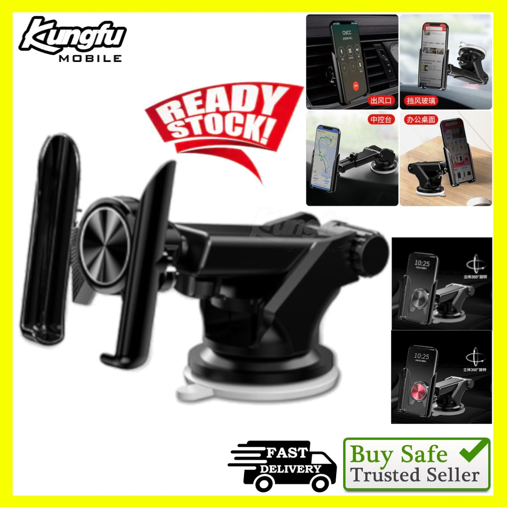 [ReadyStockMalaysia]Universal 360° Long Neck Car Mount Phone Holder + Air Vent (With Strong ABS & Silicon Base)
